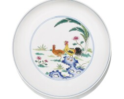 38. a famille-rose 'chicken and rooster' dish qing dynasty, late 18th/early 19th century