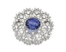 15. sapphire and diamond brooch