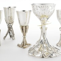 "139. ""these are my feasts"": a set of seven israeli silver kiddush cups, menahem berman, jerusalem, 1997-99"