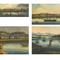 333. four export oil paintings qing dynasty, 19th century