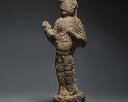12. a carved red sandstone relief fragment of an attendant northern wei dynasty |