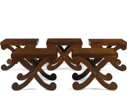 9. a set of five mahogany hall stools or low tables by john oliver andsean doxey, chatsworth estate, last quarter 20th century