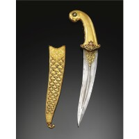 316. a magnificent mughal ruby- and emerald-set gold-hilted dagger, deccan, india, 17th century, with 19th century scabbard