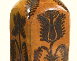 512. glazed yellow earthenware four-sided tea canister southeastern pennsylvania, dated 1846