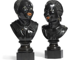 8. a pair of italian ebony busts of africans late 19th century