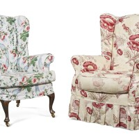 23. two upholstered armchairs, modern