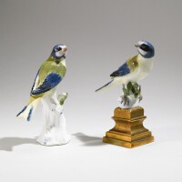 17. two meissen figures of blue tits circa 1741