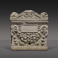 41. a roman marble cinerary urn inscribed for volunseia tyche, 1st half of the 1st century a.d.   a roman marble cinerary urn inscribed for volunseia tyche