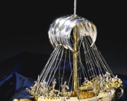 24. a german parcel-gilt silver nef-formdrinking cup, esaias zur linden, nuremberg, 1609-1629