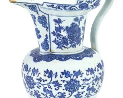 10. a blue and white monk's cap ewer, sengmaohu qing dynasty,18th – 19th century |