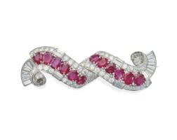 482. platinum, ruby and diamond brooch