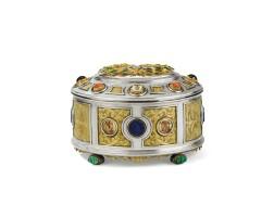 85. coffret à bijoux ovale en argent et émail, serti de pierres dures et mosaïques, non poinçonné, probablement italie, vers 1900
