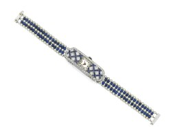 1616. sapphire, diamond, lapis lazuli and seed pearl wristwatch
