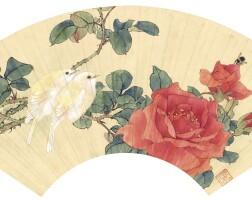 1209. 田世光 月季雙禽 | 設色紙本 扇面 鏡框