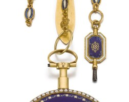 41. hefsen à paris   a gold and enamel verge watch with short chatelaine circa 1795