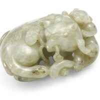 30. apale celadonjade 'mythical beast' group 17th/18th century