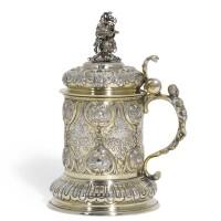 706. a german parcel-gilt silver tankard, maker's mark g.g/h below a swan, circa1870