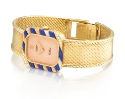 16. rolex   cellini, reference 4033 a yellow gold, diamond, coral and lapis lazuli-set bracelet watch with coral dial, circa 1980