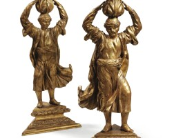 4. a pair of carved giltwood sellettes, probably venetian, 18th century |