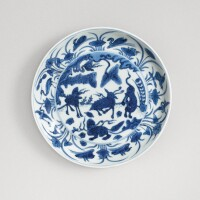 501. a blue and white 'mythical beasts' dish wanli mark and period |