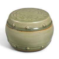 2. a very rare yaozhou celadon 'peony' boxand cover with 'floret' appliques northern song – jin dynasty