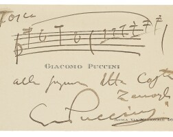 200. puccini, giacomo. autograph musical quotation of two bars from the love duet from tosca