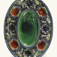 1. plat à épices ovale en terre vernissée de la suite de palissy (pré d'auge ou avon) du début du xviie siècle