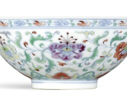3309. a finely painted and rare doucai 'flower' bowl mark and period of yongzheng |