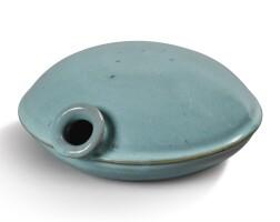 1773. a sky-blue glazed canteen-shaped vessel qing dynasty  