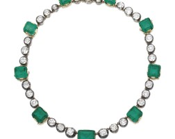 358. attractive emerald and diamond necklace, late 19th century and later