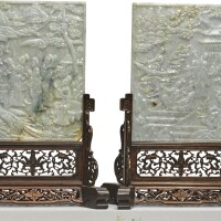 1527. 二十世紀初 翡翠雕仕女圖插屏一對 |
