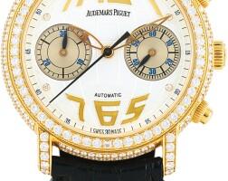 168. audemars piguet   jules audemars, reference 25999 a yellow gold and diamond-set chronograph wristwatch, circa 2005