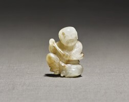 225. a rare white and russet jade 'musician' pendant song – yuan dynasty |