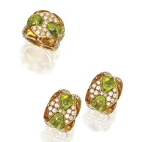 16. pair of 18 karat gold, peridot, citrine and diamond earclips and matching ring