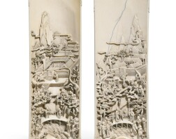 110. a fine pair of carved ivory wristrests qing dynasty, 18th/19th century