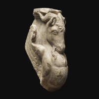 57. a roman marble table support fragment in the form of a winged goat, circa 1st century a.d. | a roman marble table support fragment in the form of a winged goat