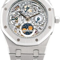 44. audemars piguet | quantieme perpetual automatique, reference 25829st astainless steelskeletonised perpetual calendar bracelet watch with moon phases and leap year indication, circa 2015