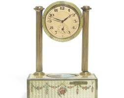 Preview. a silver-gilt and enamel singing bird timepiece, c.a. marguerat, swiss, circa 1925 |