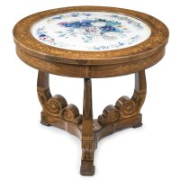 9. a charles x rosewood, marquetry and watercolor-inset center table circa 1836