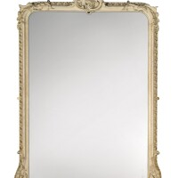 6. a victorian grey painted andcarved wood overmantel mirror, mid-19th century