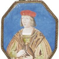 7. portrait of a nobleman with a falcon, large octagonal miniature [france (paris), before 1700]