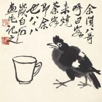 1216. 齊白石 八哥邀茶 | 水墨紙本 鏡框