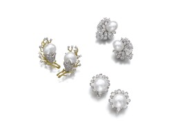 52. three pairs of cultured pearl and diamond ear clips