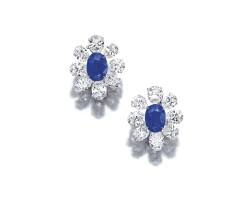 1692. 藍寶石配鑽石耳環一對, 海瑞溫斯頓(harry winston)
