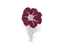 27. ruby and diamond brooch, aletto brothers