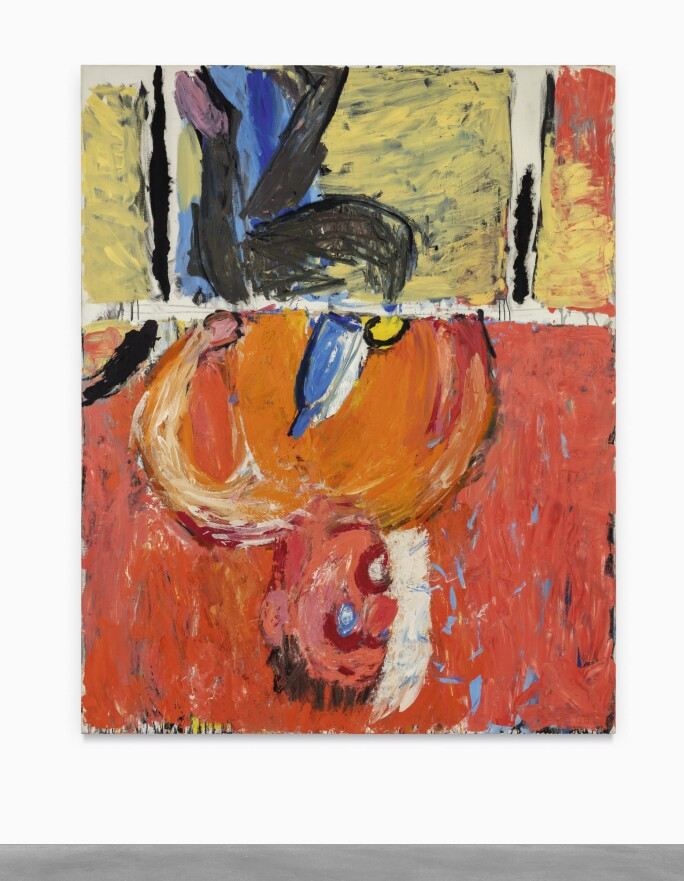 A gestural painting of a man suspended upside down.