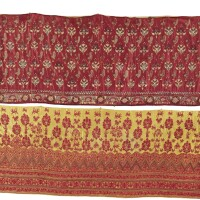 6. two silk embroidered skirt bands, india