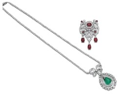 174. emerald and diamond necklace, circa 1910, and a ruby and diamond brooch