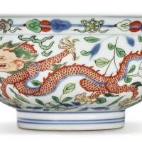 3. a fine wucai 'dragon and phoenix' bowl kangxi mark and period