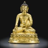 43. a gilt-bronze figure of medicine buddha tibet, 16th century